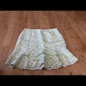LOFT linen/rayon spring skirt in green/cream NWOT